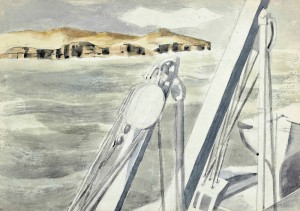 Paul Nash,  Coast of Spain (Near Gibraltar), c.1933.  Pencil and watercolour on paper,  18 x 25.4 cm.  Courtesy of Piano Nobile.