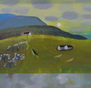 """Blue Hills"" by Jacquie Denby , Acrylic on board, 46 x 46 cm. £1,500 at Quantum Contemporary Art"