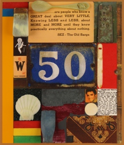 Sir Peter Blake,  3D Wooden Puzzle Series: 50, 2014,  silkscreen print with glitter, embossing, glazes and 3D printed collaged elements mounted on wood,  edition of 25, 416 x 492 mm.  Courtesy of CCA Galleries.