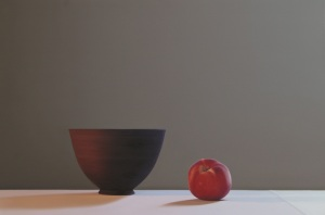 Jo Barrett Still Life with Matt Black Bowl and Peach, 2014 Oil on Canvas 80 x 120cm