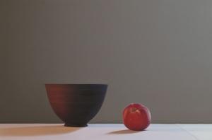 Jo Barrett Still Life with Matt Black Bowl and Peach, 2014 Oil on Canvas 80 x 120cm