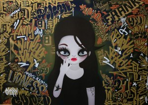 Mari Kim  Amy Winehouse Acrylic color marker and paint on printed canvas 110cm x 148cm 2014 Shine Artists London