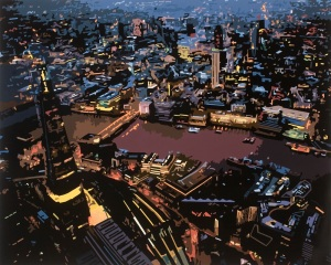 The City at Night, London, 2014. Gloss Paint on MDF Board, 122 x 153 cm