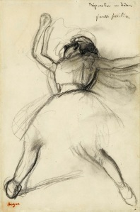 "HILAIRE-GERMAIN- EDGAR-DEGAS (1834 – 1917) Dancer (Préparation en dedans), c.1885 Charcoal on paper Size: 33.50 x 22.75 cm (13¼"" x 9"") Inscribed by the artist and stamped ©"