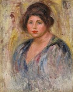 """PIERRE AUGUSTE RENOIR (1841-1919) Portrait de Femme (Gabrielle Renard, 1912 Signed centre right Size: 51.4 x 41.3 cm (20¼"""" x 16 ¼""""), 1912 ©"""