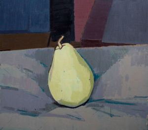 Seated Yellow Pear, 2014, oil on birch panel, 10 ⅝ x 11 ¾    inches