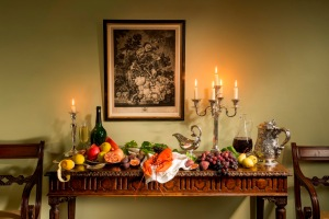 """Eat Drink and Be Merry: Furniture by Reindeer Antiques, Silver by Jason Sanderberg, Print by Isaac and Ede"""