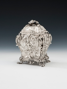 George III Silver Tea Caddy.   Mary Cook Antiques Ltd