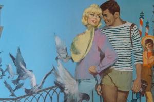 "John Heseltine ( 20th Cent. British) ""Holiday in Venice"" Original design work for book jacket. Acrylic paint on artist board. John Robertson"