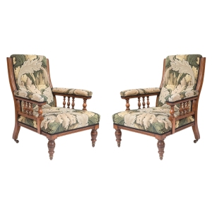 A pair of late Victorian Walnut Armchairs, circa 1890. Holly Johnson