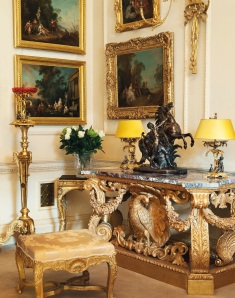 Interior View showing one of a pair of English Giltwood Side Tables CHRISTIE'S IMAGES LTD. 2014