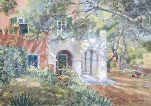 House Among Pines, watercolour, 42 x 60 cm
