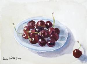 Ripe Cherries, watercolour, 14 x 19cm