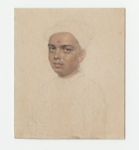 A Young Hindu, probably called 'Venkataramman', wearing a jamaand turban by John Smart.  Pencil and watercolour on paper, inscribed on the reverse:'VencatarammanBramin'. Gilded wood frame, Rectangular, 71 x 61mm (2 . x 2 ⅜ in.) © Philip Mould& Company.