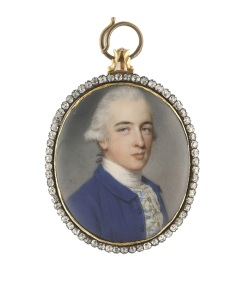 A Portrait of Richard Twining (1749-1824) by John Smart.  Watercolour, silver-gilt bracelet clasp frame with diamond border. Signed with initials and dated 'J.S/1771'. Oval, 39mm (1 . in.) high.  © Philip Mould & Company.