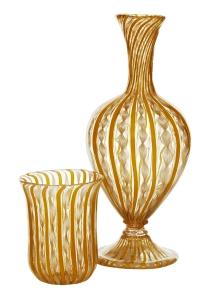 Laticinnio glass carafe and glass, c1860. Mark J West