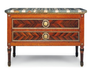 Lot 30 ONE OF A PAIR OF ITALIAN NEOCLASSICAL ORMOLU-MOUNTED PADOUK, ROSEWOOD AND MARQUETRY COMMODES, ROME, CIRCA 1784-75, THE DESIGN AND MOUNTS BY LUIGI VALADIER Each with a green, grey and white striated marble top above an ormolu stiff-leaf moulded edge, above two drawers centred by classical mask handles within laurel wreaths within a guilloche border, the sides similarly inlaid and centred by a handle, on turned tapering fluted columnar legs and stiff-leaf sabots 37 ¼ in. (94.5 cm.) high; 52 ¾ in. (134 cm.) wide; 26 ¼ in. (66.5 cm.) deep, overall 36 in. (91 cm.) high; 52 in. (132 cm.) wide; 26 in. (66 cm.) deep. without marble Estimate £600,000 - 1,000,000  CHRISTIE'S IMAGES LTD. 2014