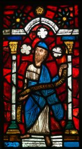 Stained glass panel Prophet Jeremiah  - France (place of manufacture)  - 13th century coloured glass