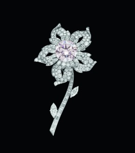 Flower brooch made for Queen Elizabeth II in 1953; resembling an edelweiss, it features the pink Williamson diamond in its centre. Archives Cartier © Cartier