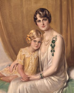 Marjorie Post and Daughter Nedenia Hutton, 1929 Giulio de Blaas, Italy In this portrait, Post wears the Cartier emerald and diamond pendant brooch. Courtesy Hillwood Estate, Museum and Gardens.