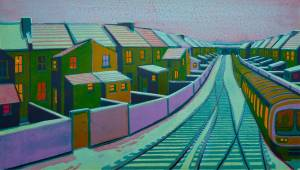 Gail Brodholt ' Snow in Suburbs'   (framed linocut) www.pottertonbookslondon.com