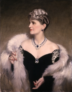 Portrait of Marjorie Merriweather Post, 1946 Frank O. Salisbury England Post wears Cartier diamond and sapphire Art Deco necklace  Courtesy Hillwood Estate, Museum and Gardens