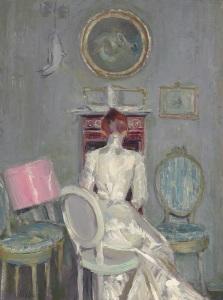 LOT 15 PROPERTY OF AN ENGLISH PRIVATE COLLECTOR  Paul-César Helleu (French, 1859-1927)  Madame Helleu à son bureau  oil on canvas  30¾ x 22¾ in. (78.1 x 57.8 cm.)  estimate:£200,000 – 300,000 CHRISTIE'S IMAGES LTD. 2014
