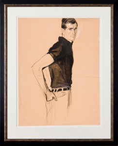 The Sports Shirt. Charcoal and ink with pastel. For an American fashion magazine, probably Vogue, circa 1960. Provenance: The artist's estate. Stamped 'Stonehouse Estate / A and H' verso. 23.5x15 inches. Framed: 31x21.5 inches