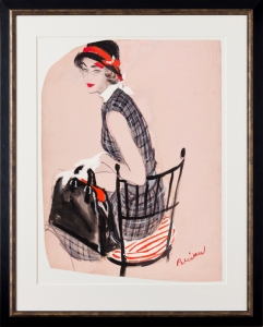 The Checked Dress. Watercolour and gouache with fibre-tip pen on pink paper. Shaped for layout. Signed. For Vogue, circa 1955. Provenance: The artist's estate. Stamped 'Stonehouse Estate / A and H' verso. 24.5x18 inches (irregular). Framed size: 32x25.25