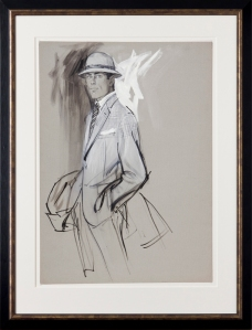 A Well Dresssed Man. Charcoal, ink and gouache on blue/grey card. For an American fashion magazine, probably Vogue, circa 1960. Provenance: The artist's estate. Stamped 'Stonehouse Estate / A and H' verso. 26x15 inches. Framed: 33.5x22 inches.