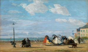 The Beach at Trouville; the Empress Eugenie Boudin, Eugène Louis (1824 - 1898; French)