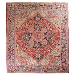 Antique Persian Heriz, 5 x 3.5m, c1870, Pars Rug