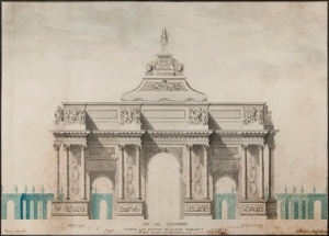 Arc de Triomphe, pen and ink with colour wash, 34cm x 24cm, French School, c1905, previously in the Yves St Laurent Collection, Charles Plante Fine Arts
