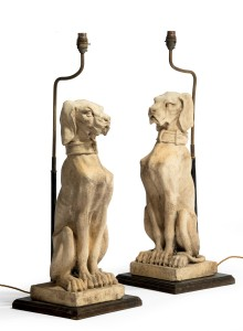 Pair terracotta dog lamps. C.1960 Jackdawes
