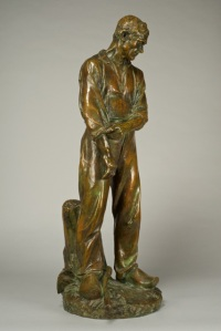 Grand Paysan / Large Peasant Aimé-Jules Dalou (French, 1838-1902) Signed DALOU (sclp)  Inscribed Susse Fres Edts Paris and cire perdue  Inset with Susse Fres Editeurs/Paris foundry pastille  Bronze with a dark brown and green patination  Height: 31 1/4 inches (79 cm) ©