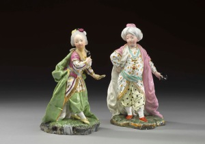 Figures of a young sultan and sultana, Höchst manufactory, models by Johann Peter Melchior, c. 1770, hard-paste porcelain, c. 1770 © Christie's Images, London/Scala, Florence