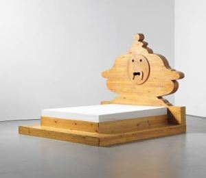 "MARIO CEROLI (Italian b.1938) 'La Bocca della Verità' or ""The Mouth of Truth"" bed, circa 1972 Russian pine. 208.8 x 230.6 x 254.1 cm (82 1/4 x 90 3/4 x 100 in.) Impressed with CEROLI. Manuf: Poltronova Ceroli is an artist and designer/maker Henry Saywell"