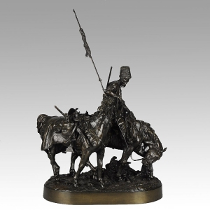 Bronze group entitled 'Zaporozhian Cossack after Battle' by Eugene Alexandrovich Lanceray (1848-1886), Russian, signed, Woerffel Foundry, 66cm high, c1885, Hickmet Fine Arts