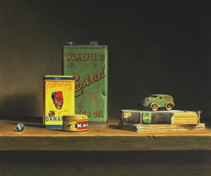 STILL LIFE WITH CASTROL OIL TIN, 2009 Oil on Panel 23¾ x 27½ ins /60 x 70 cm Courtesy of Lucy B Campbell Fine Art