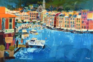 Mike Bernard RI Portofino, Summer mixed media on canvas 20 x 30 ins (51 x 76 cms) (C)