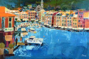 Mike Bernard RI Portofino, Summer mixed media on canvas 20 x 30 ins (51 x 76 cms) (C)