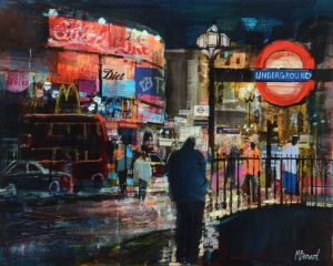 Mike Bernard RI Piccadilly, Evening mixed media on canvas 16 x 20 ins (41 x 51 cms) (C)