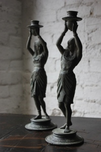 Doe & Hope Good Pair of c.1900 Bronzed Spelter Egyptian Revival Figural Candlesticks