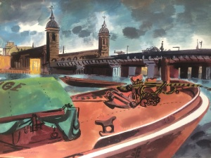 Roland Collins (b.1918) Cannon Street Gouache 37 x 52.5 cm For sale by Michael Parkin Fine Art