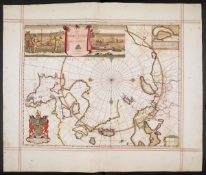 A map of the North Pole and parts adjoining', Moses Pitt, from The English Atlas (1680) - the personal atlas of King Charles II.  Photograph courtesy of the British Library.