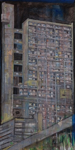Trellick Tower 2014                           130 x 65 cm 51 x 25 ½ in. Courtesy of Marlborough Fine Art