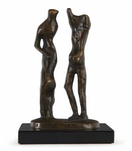 HENRY MOORE O.M., C.H. (British, 1898-1986) Standing Man and Woman signed and numbered Moore 7/9 (on the reverse of the base) bronze with gold patina, cast in an edition of 9+1 in 1981 height 7 1/4in (18.5cm) US$40,000-60,000