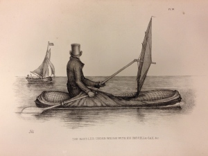 Boat-Cloak or Cloak-Boat, Peter Halkett (1848) on display in Lines in the Ice - this boat, developed in London and tested on the River Thames, was an early inflatable dinghy that doubled as a cloak (with a sail that doubled as an umbrella). Photograph courtesy of the British Library.