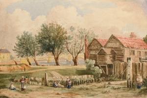 John Varley (1778 – 1842) A Boathouse at Pimlico, Vauxhall Bridge beyond, London Watercolour over pencil heightened with touches of bodycolour 23.3 x 35.2 cm For sale by Guy Peppiatt Fine Art