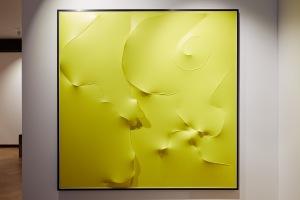 Agostino Bonalumi,  Giallo, 1996,   Vinyl tempera and shaped canvas, 199,9 x 199,9 cm,  Courtesy Archivio  Bonalumi and Mazzoleni London
